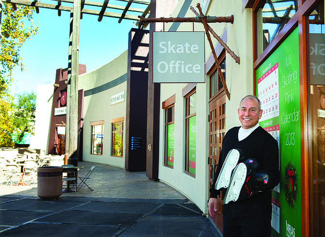 Peter Cortese, general manager of Viejas Outlets, stands outside the ice skating office next to the Coach outlet store. The outdoor skating rink is part of Viejas Outlets' effort to attract families.