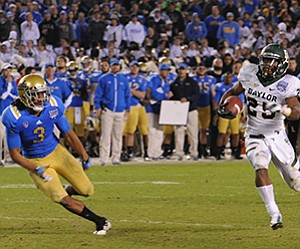 Baylor defeated UCLA in the 2012 Bridgepoint Education Holiday Bowl. This year's title sponsor of the game is National University.