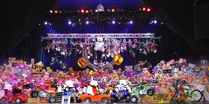 Viejas Casino & Resort team members and guests collect more than 12,000 toys for the local Salvation Army.