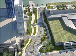 This rendering is an aerial view of the proposed San Diego Convention Center expansion from Park Boulevard.