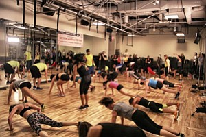 A Beachbody exercise program at a gym.