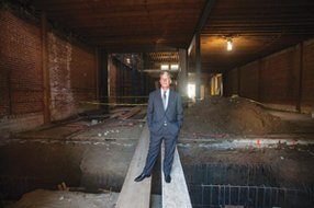 Topa's Jim Brooks at the company's building on Kinross Avenue in Westwood, being renovated for Urban Outfitters.