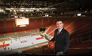 John David Wicker, senior associate athletic director at San Diego State University, is among the department's staff engaged in the its role as host school when Viejas Arena holds games for the NCAA men's basketball tournament.