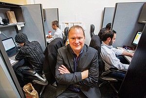 On Beat: Co-founder Robert Steele at Rightscorp's office in Santa Monica.