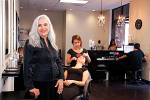Dolly Bakshai, front, owner of Beauty By Dolly, brought the ancient technique of hair threading to San Diego and turned it into a more than $1 million business.