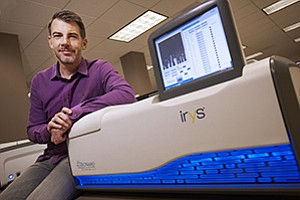 Erik Holmlin, President and CEO of BioNano Genomics Inc., with the company's genome-mapping platform Irys System.