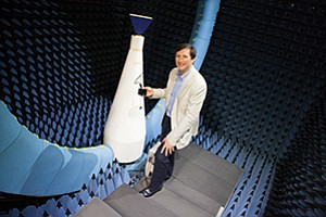 Alex Mashinsky, who took over as CEO of Novatel Wireless Inc. this year, stands in the anechoic chamber that the company uses to test antennas on its wireless devices.