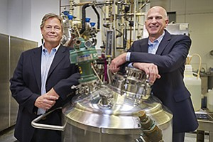 Verdezyne CEO E. William Radany, left, and CFO Brian Conn are leading the effort with yeast fermentation technology to make commercial chemicals that are more eco-friendly than petroleum.