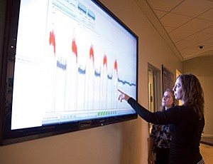 Energy use data from the Port of San Diego is being publicly displayed on an 80-inch dashboard monitor in the lobby of the administration building.