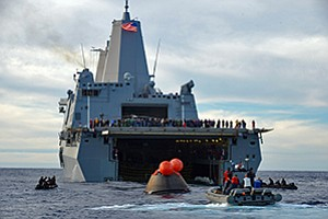 Sailors aboard the USS Anchorage and other Navy personnel assisted in last month's recovery operations of NASA's Orion spacecraft, built by Lockheed Martin Corp., following the module's first unmanned test flight.