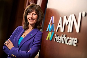 Susan Salka, a small-town girl from Nebraska who arrived in San Diego jobless, leads the billion-dollar health care staffing company AMN Healthcare Services Inc.