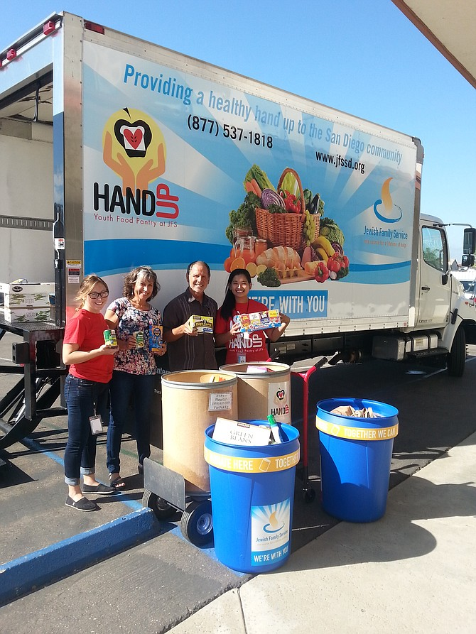 Volunteers from the Hand Up Youth Food Pantry at the Jewish Family Service of San Diego help to distribute food and essential services to more than 8,000 people facing hunger in the county.
