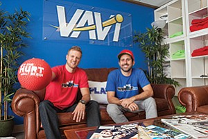 Latane Meade, left, president of VAVi Sport & Social, and CEO Steve Stoloff have spent the last seven years growing the company. 'Fun is a key component,' Stoloff said.