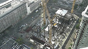 Construction is underway on the $555 million downtown San Diego Central Courthouse. The 22-story county courthouse, set for completion in 2016 at State and C streets, is the region's largest current government construction project. It was designed by Skidmore, Owings & Merrill.