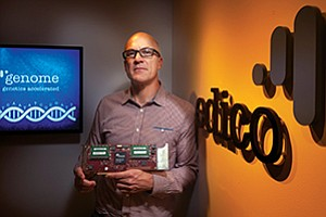 Pieter van Rooyen is CEO of Edico Genome, one of 17 companies in the Qualcomm Life Fund investment portfolio. Van Rooyen is holding the company's specialized microchip called Dragen that performs next-generation sequencing of a genome.