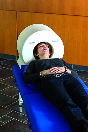 Unlike a traditional PET scanner, the CerePET is portable and designed to take images of the brain.