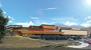 An artist's rendering shows the completed Hollywood Casino Jamul-San Diego, which is rising on Indian reservation land south of Jamul's business district. Penn National Gaming operates several Hollywood-themed casinos.