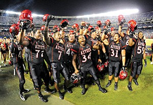 The Aztecs have played football in Qualcomm Stadium since it opened in 1967. They previously played on campus at the Aztec Bowl, which is now the site of Viejas Arena.