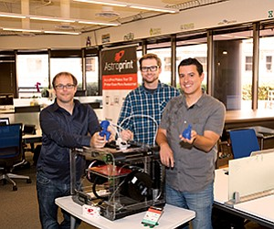 AstroPrint founders (from left) Drew Taylor, Joshua White and Daniel Arroyo developed technology that simplifies complex 3-D printing software, increasing access to novice users.