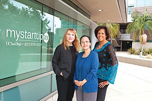 From left, mystartupXX's founders are Lada Rasochova, executive director of the California Institute for Innovation and Development at the Rady School of Management; Rosibel Ochoa, senior executive director of Entrepreneurism and Leadership Programs at the UC San Diego Jacobs School of Engineering; and Kimberly Davis King, a lecturer at the Rady School.