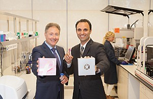 Pathway Genomics appeals to the consumer by offering genetic testing for a variety of common health concerns, including breast cancer risk, cardiac health, diet and exercise response. Holding some of those kits are company CEO Jim Plante, left, and Ardy Arianpour, chief commercial officer.