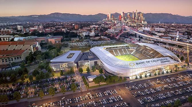 Rendering of proposed Banc of California Stadium.