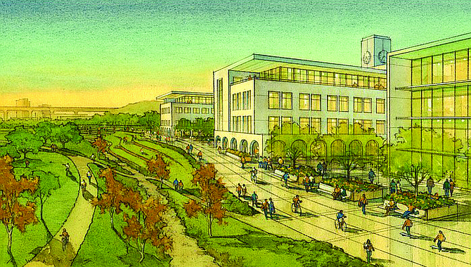 Rendering shows a portion of SDSU's proposed Mission Valley development.