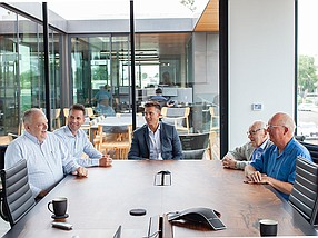 C3bank's Paul Becker (from left), Adam Moyer, Michael Persall, Evert Alsenz and Richard Skay meet at the bank's Encinitas office.