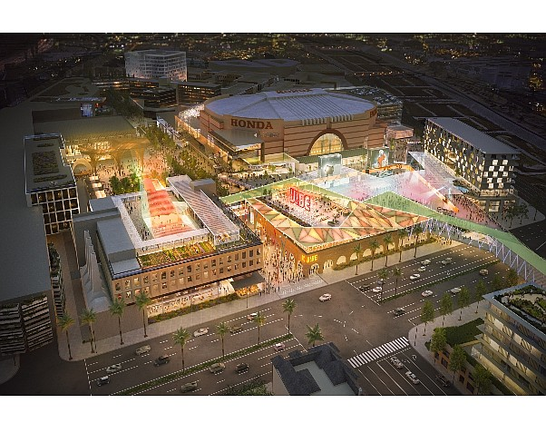 Rendering of ocVIBE, mixed-use project planned for Honda Center