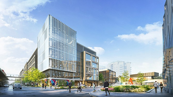 Rendering courtesy of Regency Centers. Redevelopment of the Costa Verde Shopping Center will focus on adding life science space to the retail center and a 200-room hotel