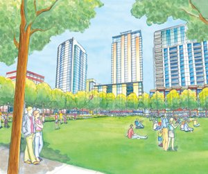 Properties transferred to city ownership include several downtown parcels set to be developed in coming years as a municipal park called East Village Green.