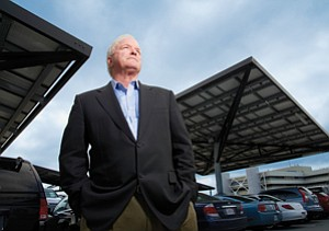 Bob Noble, CEO of Envision Solar International, is coordinating the development of 'solar trees' and electric car charging stations with partner Reno Contracting.