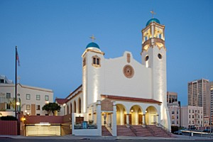 The second phase of a three-phase renovation plan has been completed for the 70-year-old St. Joseph's Catholic Cathedral in downtown San Diego. The $770,000 project included interior lighting in addition to exterior wood and concrete restorations to the building and bell tower, painting, and repairs to upper clerestory windows.