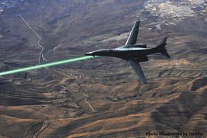 An artist's rendering shows a B-1B bomber firing a high-energy laser weapon called Hellads. General Atomics Aeronautical Systems Inc. is helping the Pentagon develop the weapon