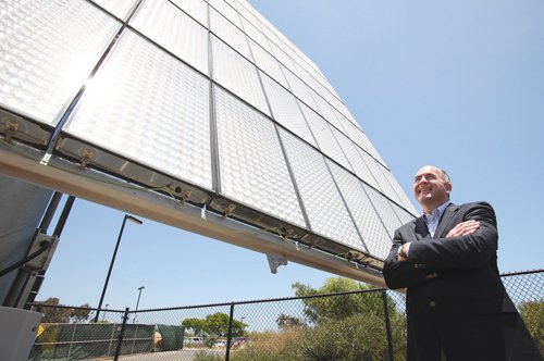 Clark Crawford, vice president of Soitec Solar, says plans are still on track to build a solar-panel manufacturing plant, estimated to cost $100 million. A building in San Diego has been chosen for the factory but officials are remaining quiet on the details until the company's power purchase agreements with San Diego Gas & Electric Co. are approved by the Public Utilities Commission.