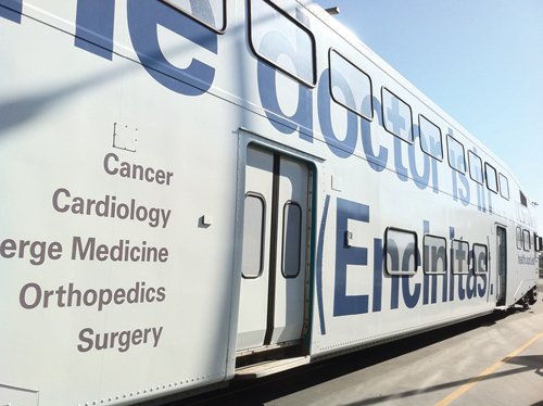 UCSD Health System is expanding into North County with cardiology, cancer, orthopedic and surgery clinics. It is announcing its arrival by wrapping the Coaster in advertising.