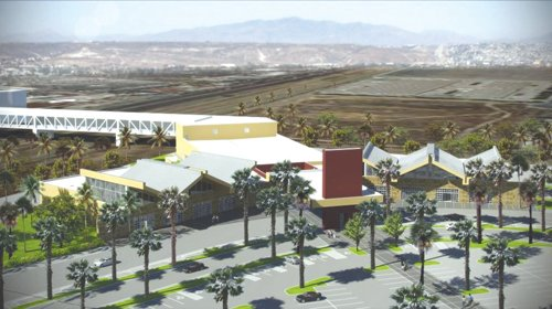 A rendering prepared by architect Stantec Inc. shows a conceptual design for the cross border airport terminal.