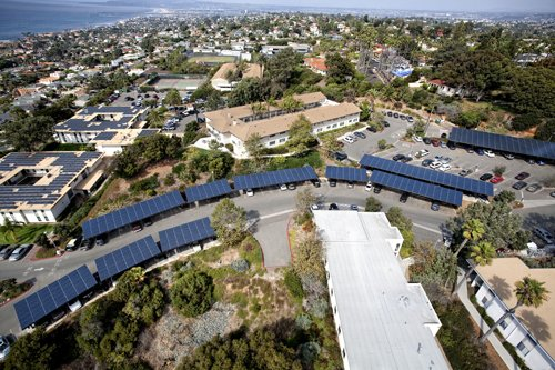 San Diego has been identified in the 'California's Solar Cities 2012' report as a leading city in the state for number of solar roofs installed. Officials announced the report at the Point Loma Nazarene University campus, shown above, where a megawatt of solar power is generated by solar systems distributed on rooftops and carports.