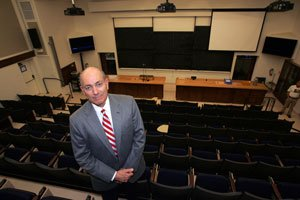 C.W. Driver Chief Executive Dana Roberts at the Feynman Lecture Hall on Caltech's Pasadena campus.