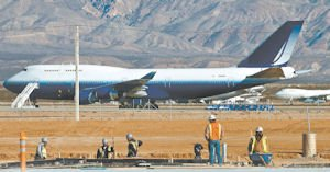 Space: One of two 747 jets that will supply engines and other parts for the Stratolaunch aircraft.