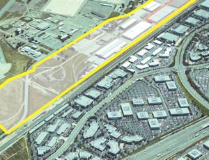 Prime position: 100 acres, marked here in yellow, located on the edge of the OC Great Park site
