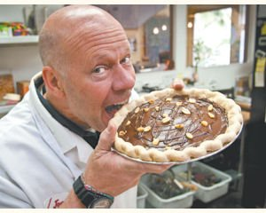Treat: Republic of Pie owner Jon Stocking with a Chocolate Peanut Butter Cup Pie.