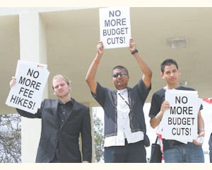 Protest: L.A. Valley College students protest against budget cuts on March 28.