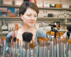 Beauty: Brooke Hasalton shops for brushes at Cinema Secrets in Burbank.
