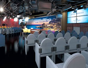Program: A new television studion on the Royal Princess seats an audience of 280.