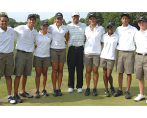 Student athletes: Woods with foundation's 2012 National Junior Golf Team; grade-point average of 3.2 or higher and 40 hours volunteer service per year required