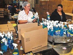 Work: BlueCross Laboratories warehouse employees.