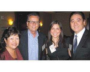 Farewell: Pegi Matsuda (far left) and Larry Haworth, Leana and Jamie Chien.