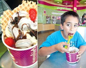 Yogurt: Menchie's caters to families with rotating flavors daily and free toys.