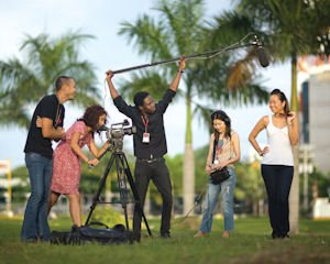 Action: International Academy of Film and Television students on the set.